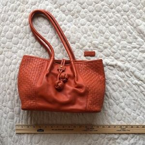 Woven Orange leather with decorative leather